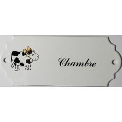 Plaque de porte émaillée décor vache : Chambre