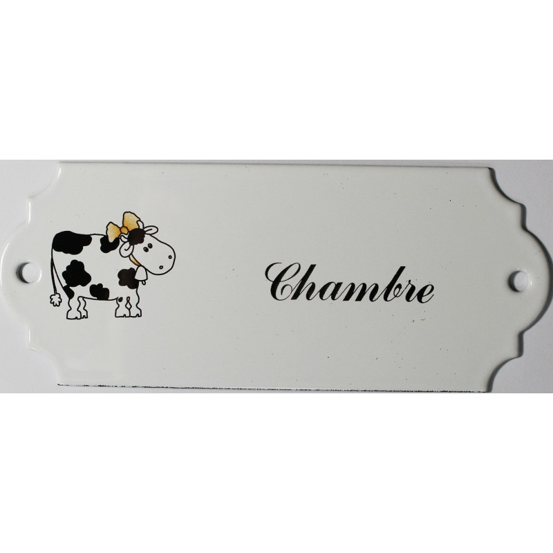 plaque de porte maill e d cor vache chambre plaque. Black Bedroom Furniture Sets. Home Design Ideas