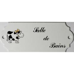 Plaque de porte émaillée décor vache : Salle de bains