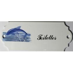 Plaque de porte émaillée décor dauphin : Toilette