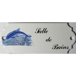 Plaque de porte émaillée décor dauphin : Salle de Bains