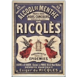 Plaque métal publicitaire 15x21cm bombée : Ricqlès Alcool de Menthe.