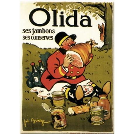 Plaque métal  publicitaire 15x21cm bombée :  OLIDA ses Jambons, ses Conserves.