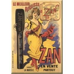 Plaque métal publicitaire 15x21cm bombée : ZAN Le meilleur Réglisse.