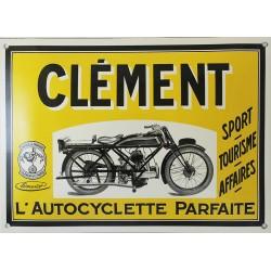 Plaque émaillée bombée 25 x 35 cm : CLÉMENT L'autocyclette parfaite.