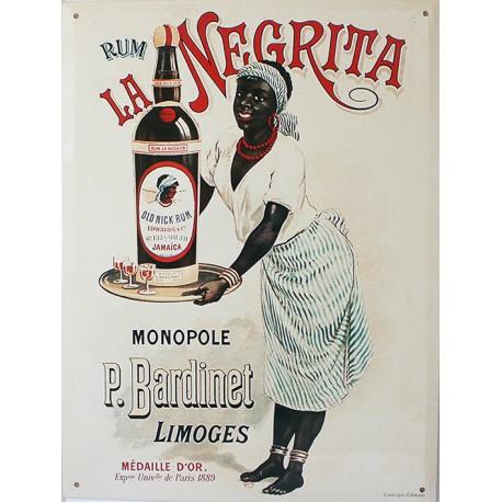 Plaque métal publicitaire 30x40 cm plate, biseautée : Rhum Négrita.
