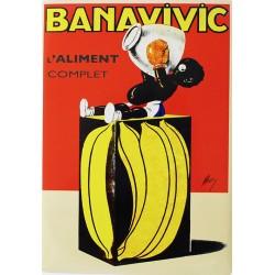Plaque métal publicitaire 15x21cm bombée : BANAVIVIC.
