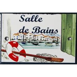 Plaque de porte émaillée plate de 10,5 x 7cm décor Port : SALLE DE BAINS.