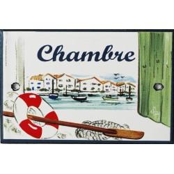 Plaque de porte émaillée plate de 10,5 x 7cm décor Port : CHAMBRE.