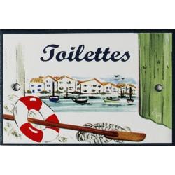 Plaque de porte émaillée plate de 10,5 x 7cm décor Port : TOILETTES..