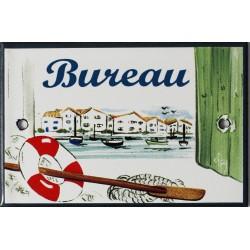 Plaque de porte émaillée plate de 10,5 x 7cm décor Port : BUREAU