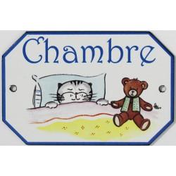 Plaque de porte émaillée plate de 10,5 x 7cm décor Chats : CHAMBRE.