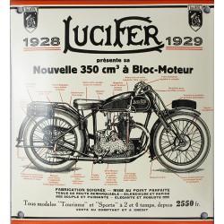 Plaque émaillée  :  MOTOCYCLETTE LUCIFER.