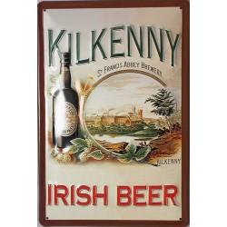 Plaque métal publicitaire 20x30cm bombée en relief : KILKENNY IRISH BEER
