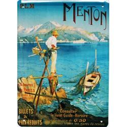 Plaque métal publicitaire 15x21cm plate :  MENTON.