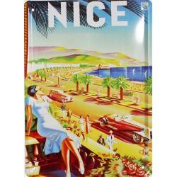 Plaque métal publicitaire 15x21cm plate :  NICE.