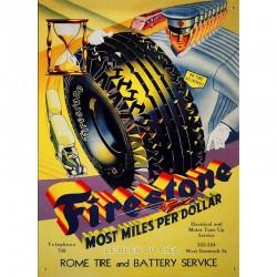 Plaque métal publicitaire plate :  pneu Firestone