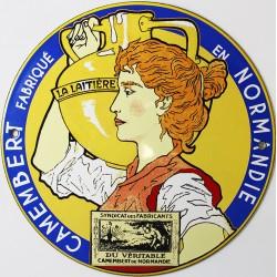 Plaque émaillée :  CAMEMBERT DE NORMANDIE