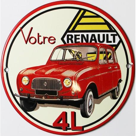 Plaque émaillée :  RENAULT 4L.