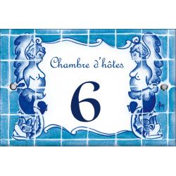 plaque de porte émaillée décor Carreaux bleus format  7x10,5cm