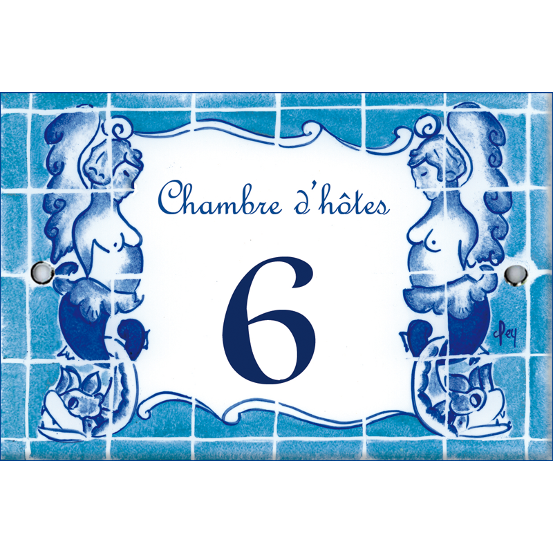 Plaque de porte maill e d cor carreaux bleus format 7x10 5cm for Plaque de porte decorative