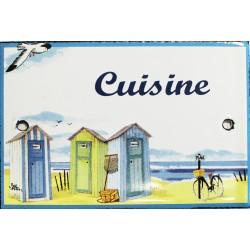 Plaque de porte émaillée plate de 10,5 x 7cm décor plage : CUISINE