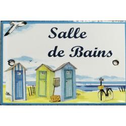 Plaque de porte émaillée plate de 10,5 x 7cm décor plage : SALLE DE BAINS.