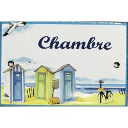 Plaque de porte émaillée plate de 10,5 x 7cm décor plage : CHAMBRE.