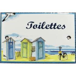 Plaque de porte émaillée plate de 10,5 x 7cm décor plage : TOILETTES.