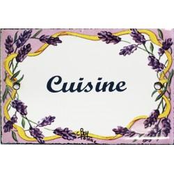 Plaque de porte émaillée plate de 10,5 x 7cm décor lavandes : CUISINE.