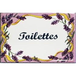Plaque de porte émaillée plate de 10,5 x 7cm décor lavandes : TOILETTES.