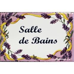 Plaque de porte émaillée plate de 10,5 x 7cm décor lavandes : SALLE DE BAINS.