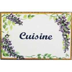 Plaque de porte émaillée plate de 10,5 x 7cm décor glycines : CUISINE.