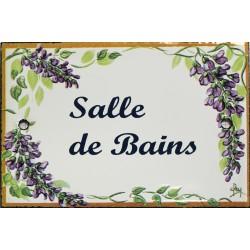 Plaque de porte émaillée plate de 10,5 x 7cm décor glycines : SALLE DE BAINS.