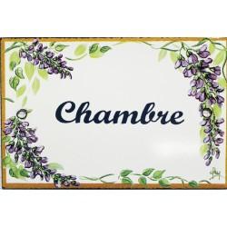 Plaque de porte émaillée plate de 10,5 x 7cm décor glycines : CHAMBRE.