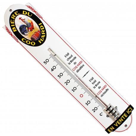 Thermomètre émaillé bombé  hauteur 42cm : COQ HARDI.