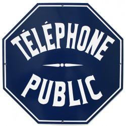 plaque de rue émaillée  :  TÉLÉPHONE PUBLIC