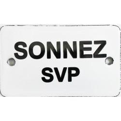 Plaque de service émaillée bombée 6 x 10 cm   : SONNEZ SVP