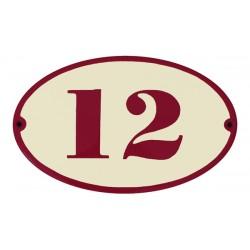 Numéro de maison Oval bombé 16 x10 cm.