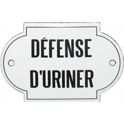 Plaque de service émaillée Bombée de 5,5 x 8,5 cm : DÉFENSE D'URINER.