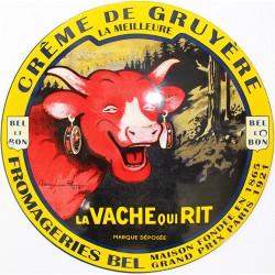 Plaque émaillée :  CRÊME DE GRUYÈRE la Vache Qui Rit