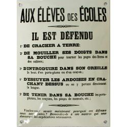 Plaque émaillée humoristique :  AUX ÉLÈVES DES ÉCOLES...