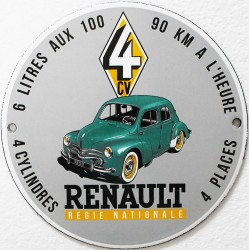 Plaque émaillée : RENAULT 4CV.