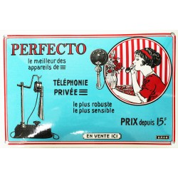 plaque émaillée  :  TÉLÉPHONE PERFECTO.