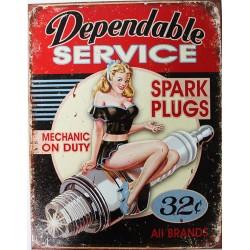 Plaque métal publicitaire plate 30x40cm : Dependable SERVICE