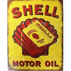 Plaque métal publicitaire 30X40cm plate : SHELL MOTOR OIL.