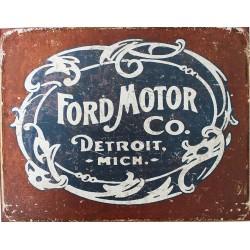 Plaque métal publicitaire 30 x 40 cm : FORD MOTOR DETROIT
