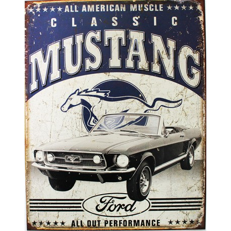 plaque m tal publicitaire 30 x 40 cm ford mustang. Black Bedroom Furniture Sets. Home Design Ideas