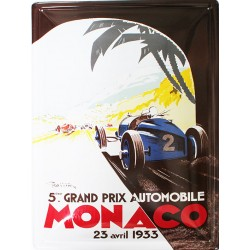 Plaque publicitaire 30 x 40 cm bombée : Grand prix de Monaco 1933