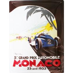 Plaque publicitaire 30 x 40 cm relief : Grand prix de Monaco 1933